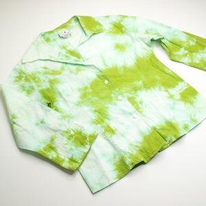 Arleen Bowman Green Tie Dye Button Down Shirt
